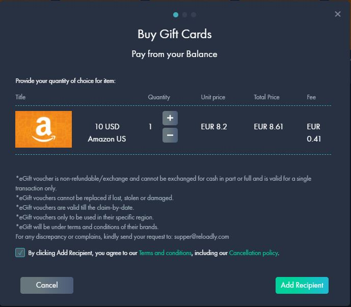 amazon gift card purchase reloadly